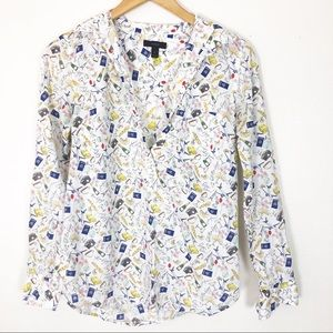 J. Crew French print pullover blouse